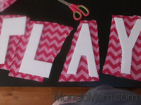 Fabric cut to size of each foam board letter