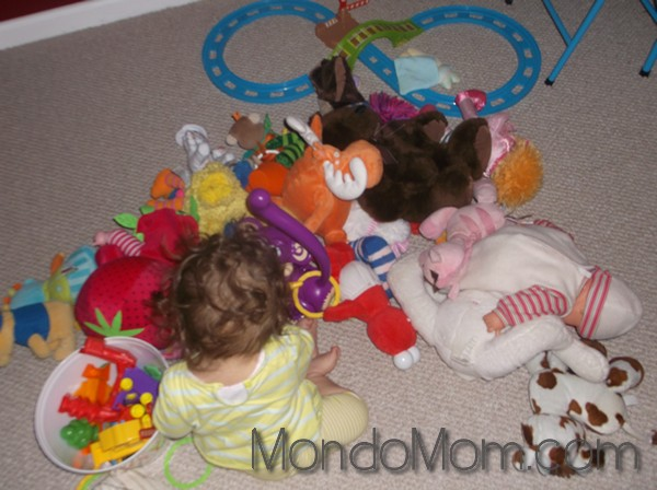 Too many stuffed animals all over floor