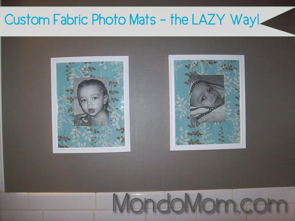 DIY custom fabric photo mats on wall