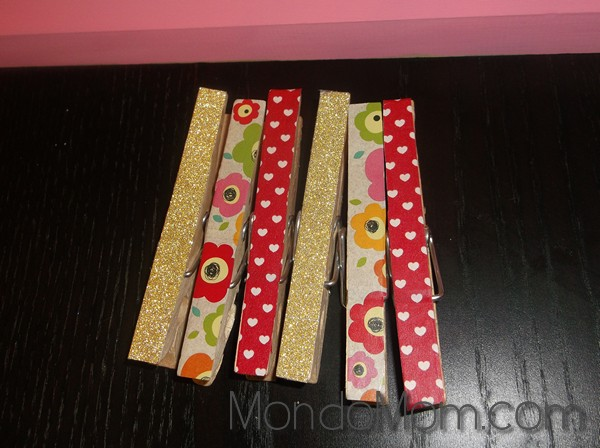 kids art display: washi clothespins