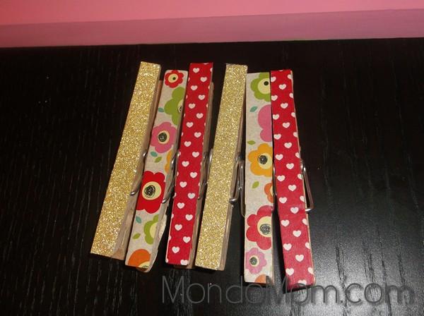 kids art display: washi clothespins