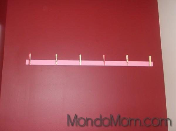 kids art display: affixed clothespins