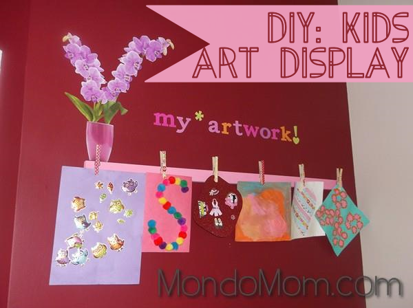kids art display: art hung up