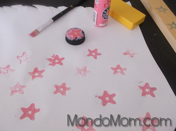 DIY custom foam stamps: stamp with paint