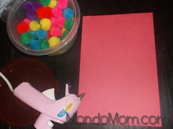 More toddler art: pom pom initial supplies