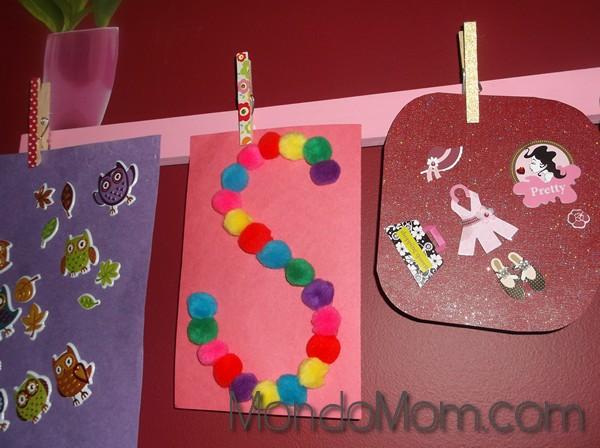 More toddler art: pom pom initial art