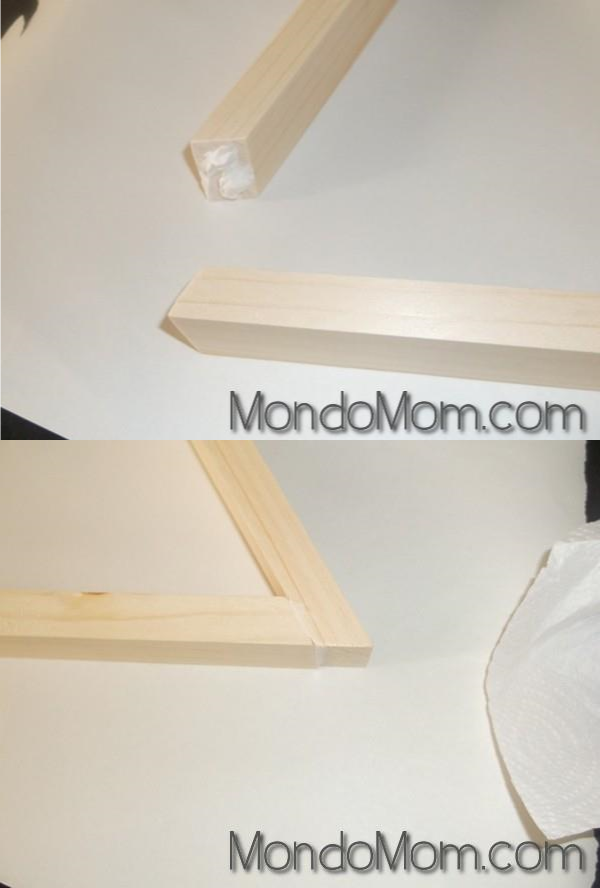 DIY wooden triangle shelves: use liquid nails on corners