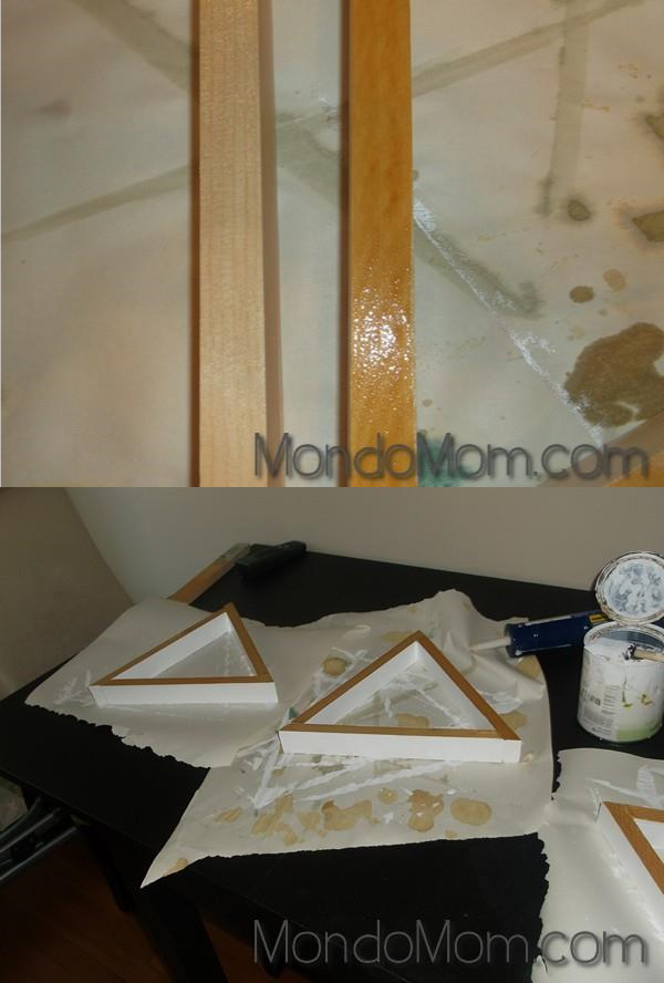 DIY triangle shelves: paint & stain wood