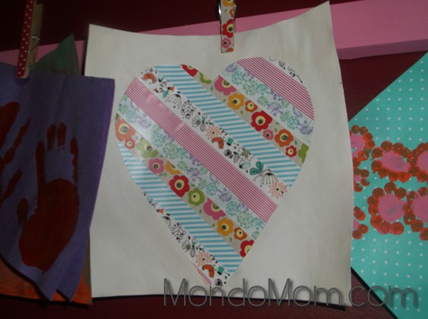 Toddler Art Project: washi tape heart project