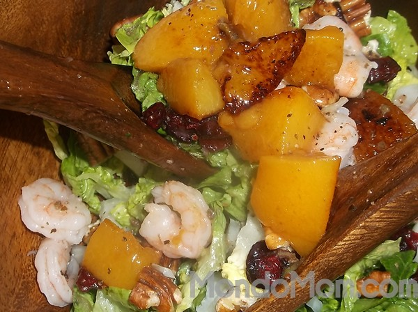 Caramelized Peach and Blue Cheese Salad with Shrimp Recipe