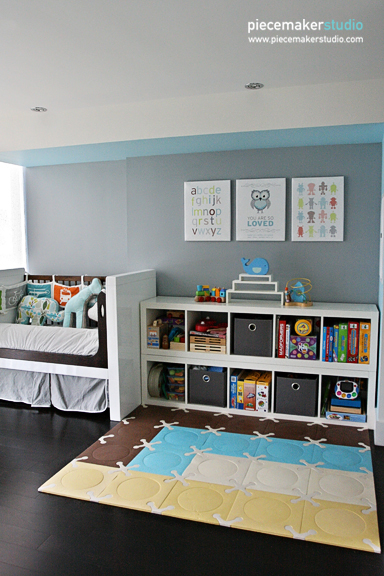 Cube shelves for organized nursery