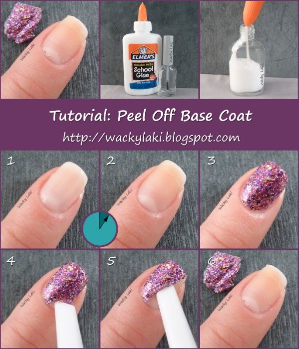 Glue helps glitter nail polish peel off easily!