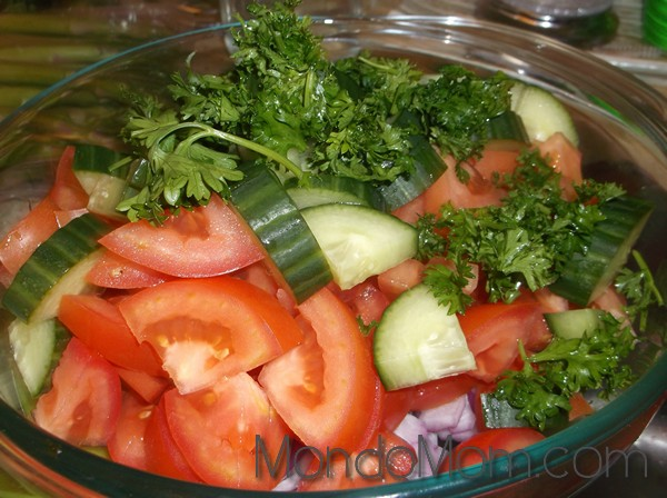 Chopped ingredients for salad