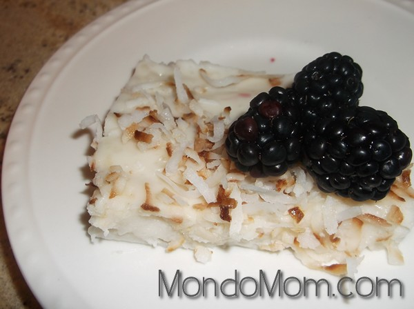 Coconut milk pudding slice