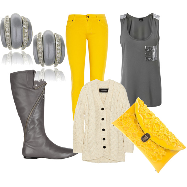 Edgy Gray & Yellow Look