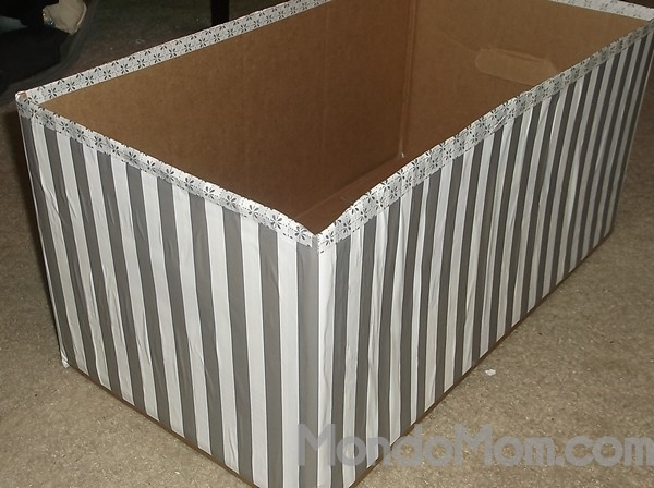 Make a decorative storage box from a diaper box!