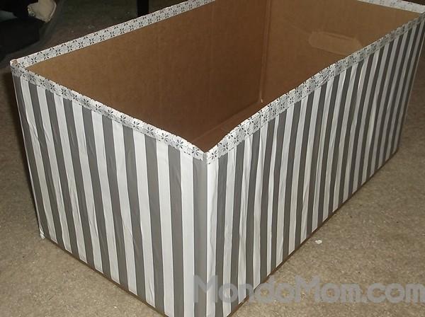 Make a decorative storage box from a diaper box!