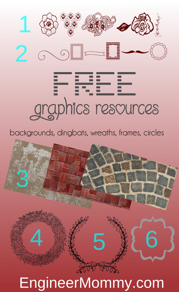 Free Graphics Resources: circles, frames, wreaths, fonts, backgrounds