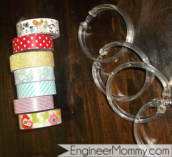 Washi tape and shower rings