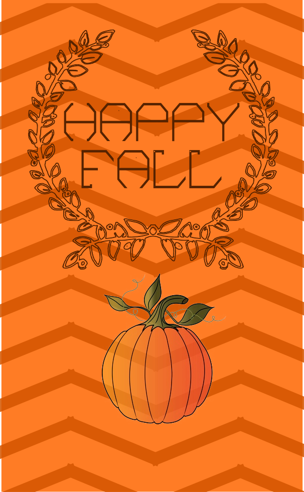 Basic orange Happy Fall printable