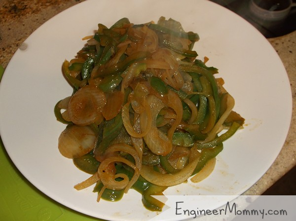 Sauteed green peppers and onions