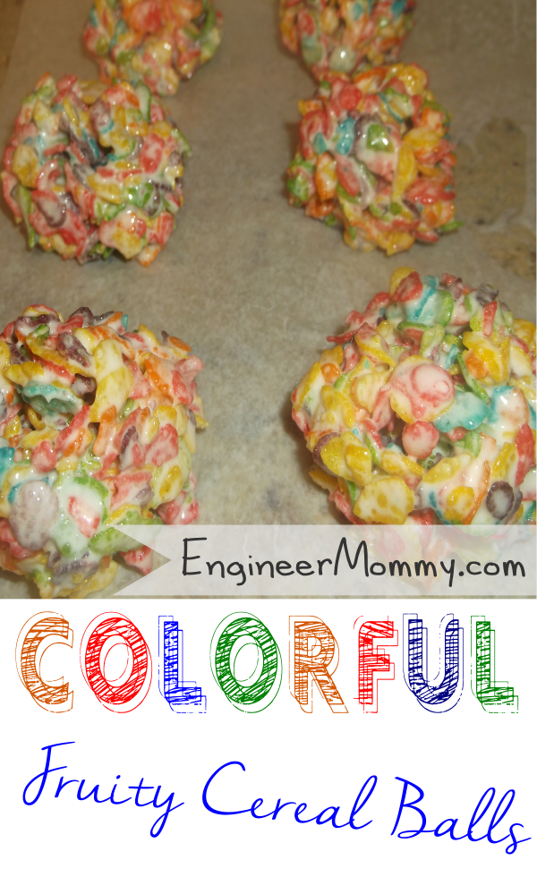 Colorful Fruity Rice Cereal Balls at EngineerMommy.com