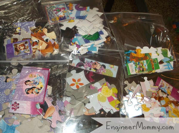 Puzzles in zippered plastic bags
