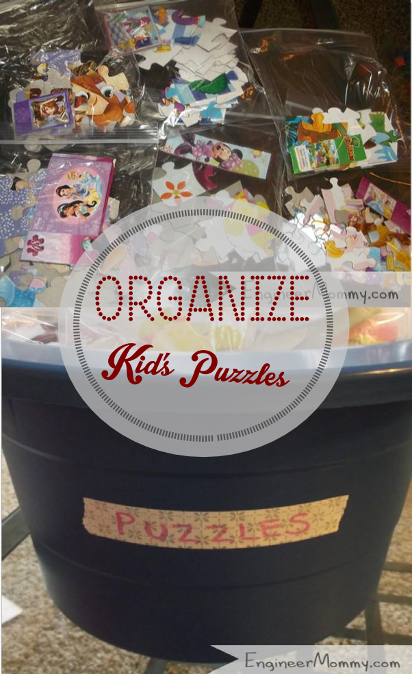 Organizing kids' toys: puzzles