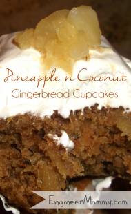 Pineapple & Coconut Gingerbread Cupcakes {Recipe}