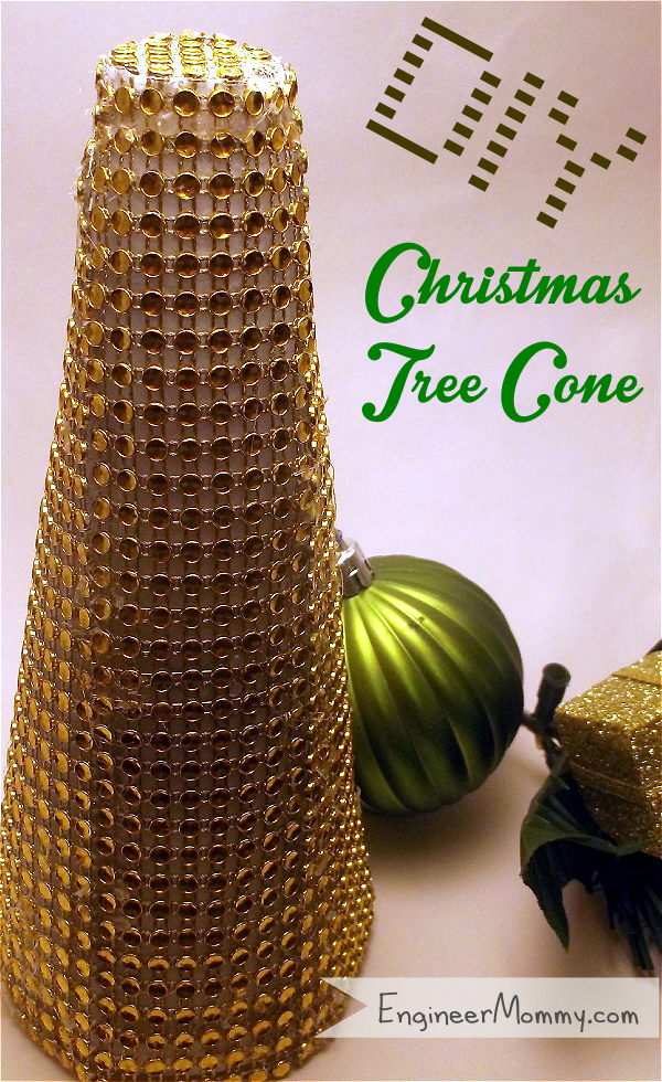 DIY Rhinestone Christmas Tree Cone
