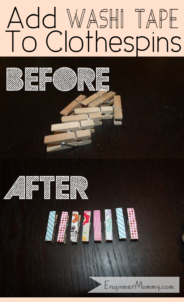 Add Washi Tape to Clothespins