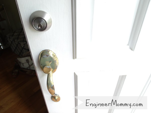 Spray paint door knobs