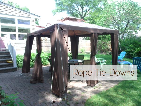 Secure a gazebo canopy