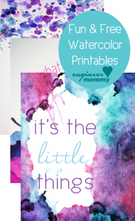 Fun watercolor printables {free download}