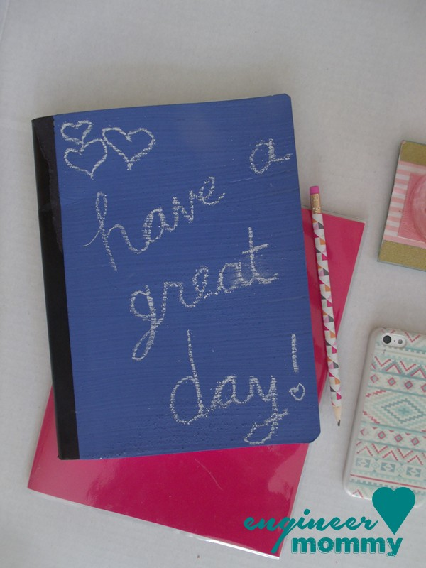 Paint a chalkboard onto a composition notebook