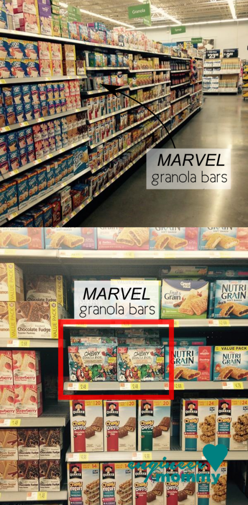 Finding MARVEL granola bars at Walmart