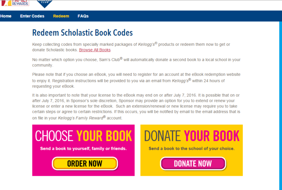 Redeeming the free Scholastic book