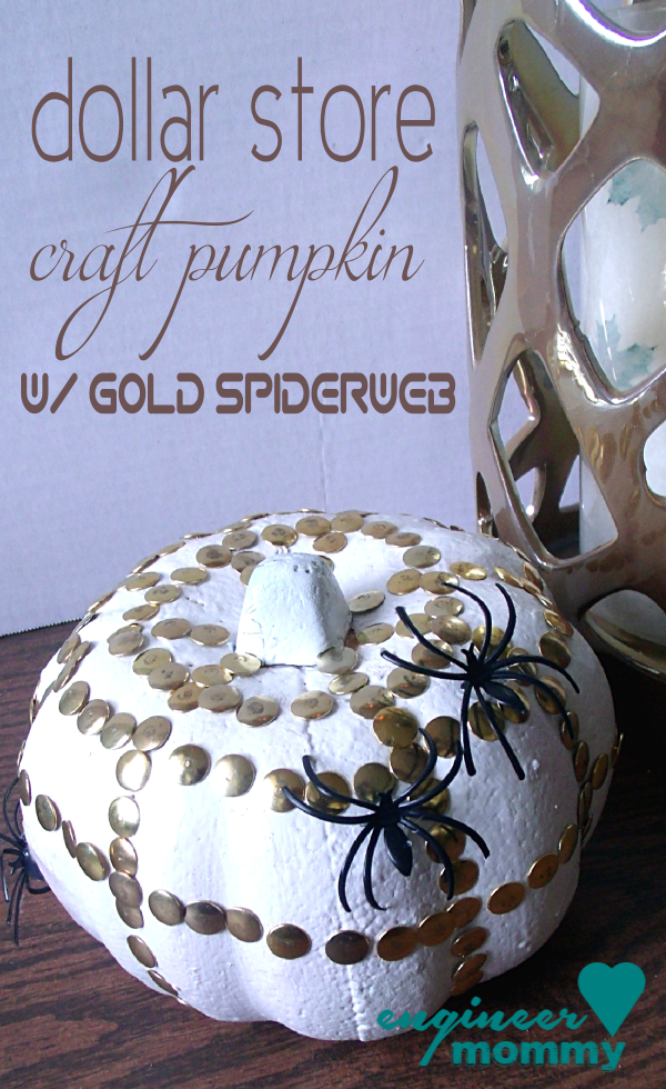 Dollar store pumpkin with gold spiderweb