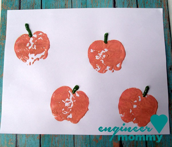 Pumpkin Stamps w/ Apple Halves