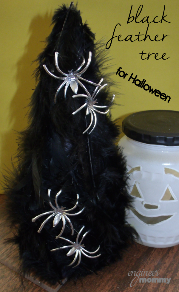 Easy Halloween Crafts: Black Feather Tree