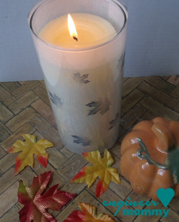 Fall Craft Idea: Dollar Store Vase w/ Leaf Printable