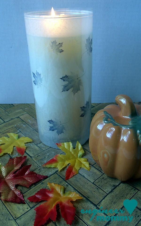 Fall Craft Idea: Dollar Store Vase w/ Leaf Printable