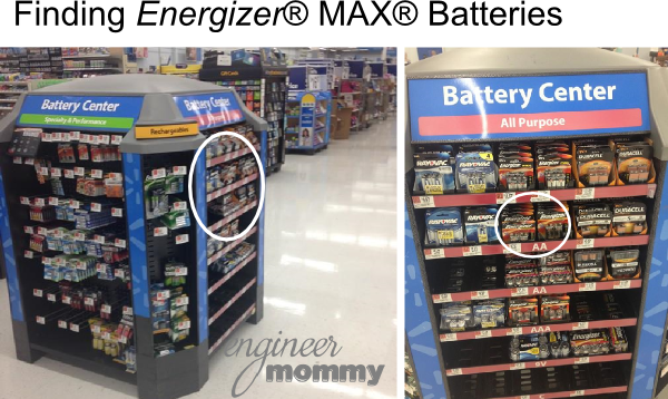 Finding the batteries at Walmart