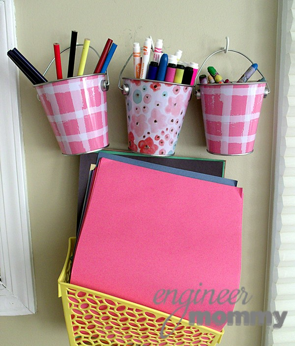 Plaid Art Pails in Playroom