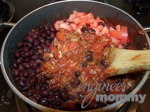 Veggie Chili: Adding the tomatoes & beans