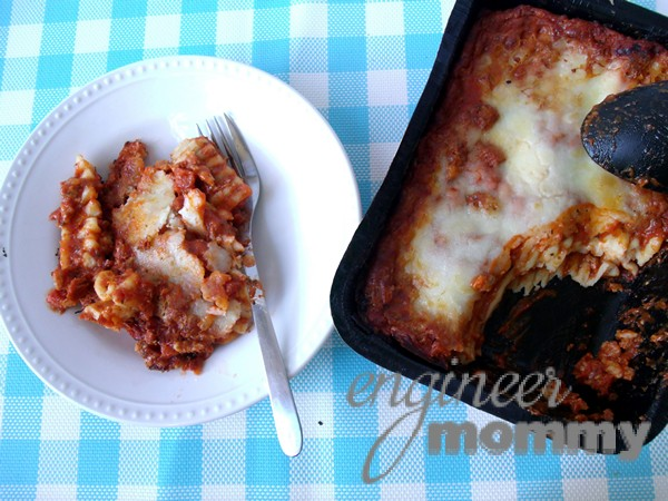 Enjoying STOUFFER'S® Family Size Entrées Lasagna