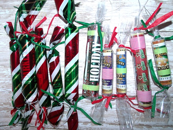 DIY Christmas Candy Ornaments with New Jersey Lottery Tickets