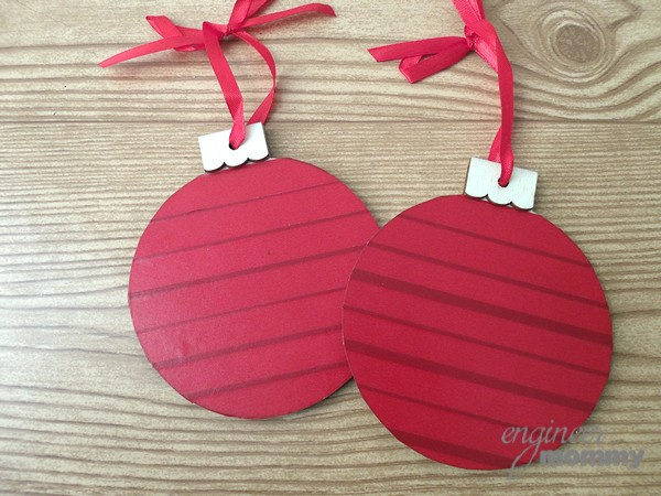 DIY Modern Christmas Wreath: Covering the Wooden Ornaments with Red Washi Tape