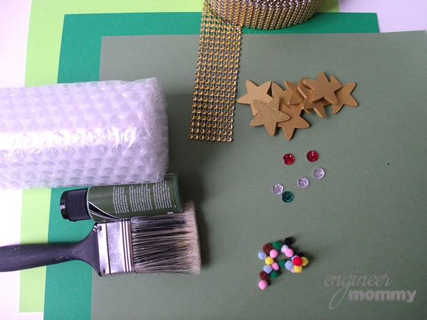 Supplies for Honeycomb-Stamped Christmas Tree Cones