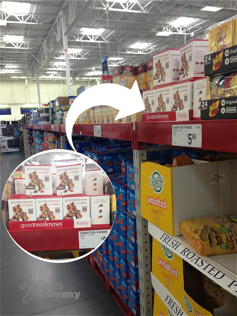 Finding goodnessknows® snack squares at Sam's Club